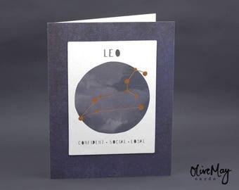 Indigo blue copper foil Leo zodiac greeting card