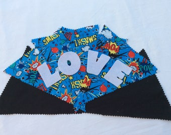 Handmade Personalised Bunting Made to Order in Blue Action Themed Fabric