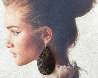 Authentic Louis Vuitton Tear Drop Earring With 14k Plated Gold Earring Hook Re Purposed,Recycled,Upcycled,Handmade
