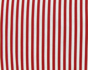 Red and White Stripe fabric by Cotton Calico