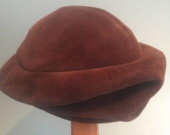 Vintage, brown velour fur, hat, 30s