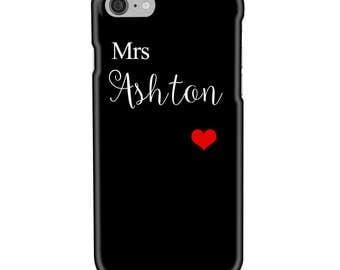 Personalised Name, Surname, Initials - Black with Red Heart -  Protective Glossy Phone Cover Case iPhone iP Samsung Galaxy GS