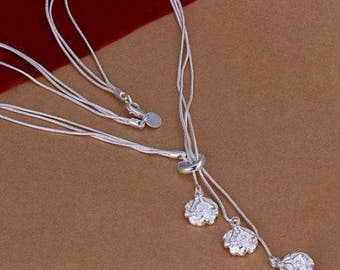 Solid Silver Necklace with Rose Pendants