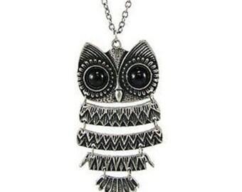 Beautiful Classical Owl Silver Pendant Necklace