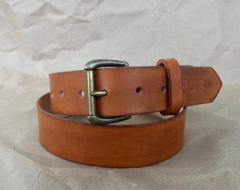 """1.5"""" Full Grain Leather belt With Aged Brass Buckle"""