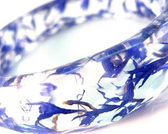 Resin bangle bracelet, Real flowers, Cornflower, flower bracelet, nature, blue, Mothers Day Gift, Gift for her