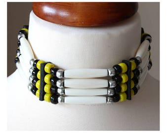 Native American style bone hair pipe choker, black & yellow necklace, navajo style indian bone choker, western tribal festival necklace gift