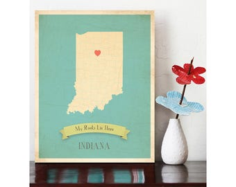 Indiana Roots Map 11x14 Customized Print