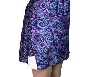 Paisley Golf Wrap Skirt with Attached Short (Skort)