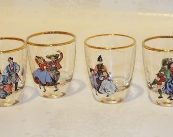 Vintage French Celebration Shot Glasses. 1960's Glasses. Set of 4 Shot Glasses.