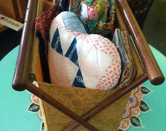 "Vintage Sewing ""Basket"" Including Fabric"