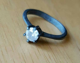 0.40 ct white diamond in oxidized silver solitaire ring