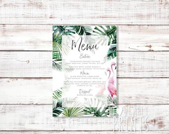 Custom Wedding Menu   Tropical Theme Printed Menu   Personalised Menu   Wedding Menu Cards