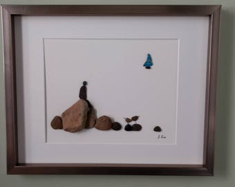 Unframed pebble art, birthday gift, anniversary gift, cottage decor, retirement gift, 11 by 14 by Jenny Love