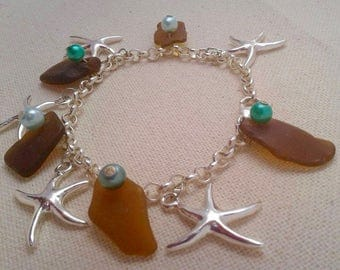 Seaglass starfish bracelet silver with brown glass and teal beads