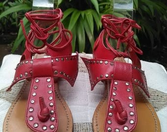 Women Leather Sandals – Red Sandals – Strappy Sandals - Handmade Leather Sandals – Summer Sandals