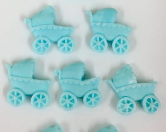 Pram Sugarpaste Toppers - Choose Colour - 2cm - Cake Topper Decorations - Pram - Baby Shower - Cupcake Toppers