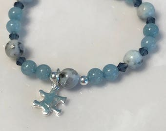 Kiwi jasper , aquamarine , crystal, autism awareness - calms , soothes, supports in time of stress, absorbs negative energy