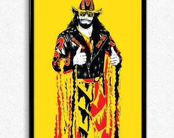 Macho Man Randy Savage Art Print - Super Detailed Giclee Print of Wrestling Legend Randy Savage - Multiple Sizes and Colors