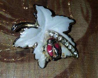 VintagebLady bug leaf pin with rhinestones