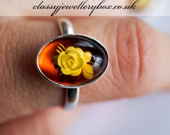 Hand Carved Sterling Silver Baltic Amber Rose Ring