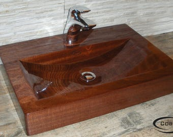 Sink wooden, wooden sink, wood of mahogany, mohagony wood