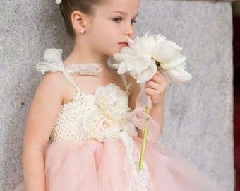Blush Flower Girl Dress, Blush tutu dress, Flower Girl Tutu Dress, Wedding tutu dress, Blush and pearls flower girl tutu