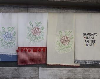 Handmade Embroidered Tea Towels