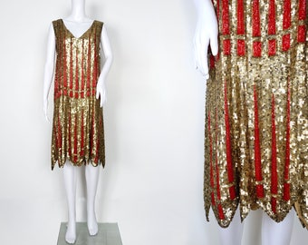 1920s Gold Sequin Dress with Striking Red Beading