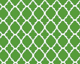 Green and White Quatrefoil Cotton Quilting Sewing Crafting Fabric By the Yard