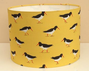 Oystercatchers, lampshades, handmade fabric ceiling/table, 30cm or 20cm, yellow background, ideal gift for bird or wildlife lover