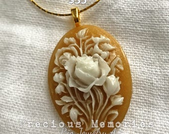 Floral DNA Cameo Pendant