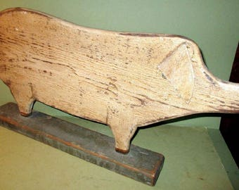 Folk Art Hand carved Pig