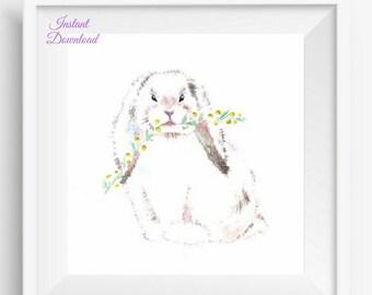bunny art print, baby bunny print, nursery bunny print, Bunny Nursery Art, Bunny Nursery Decor, Rabbit Nursery Decor, Woodland Nursery art