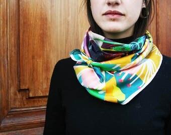 Predicta Sun Motif scarf exclusive workshop Emilie Sauzet silk silk boho chic hippie preppy