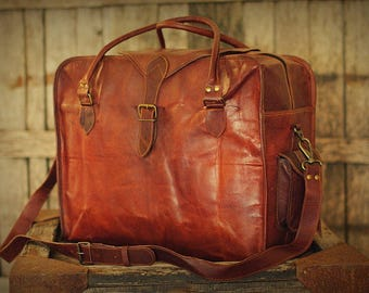 "Cabin Travel Bag 20"" / Brown Leather Bag / Leather Retro Messenger / Hip Bag / Shoulder Bag / Carry Bag / Travel Bag"
