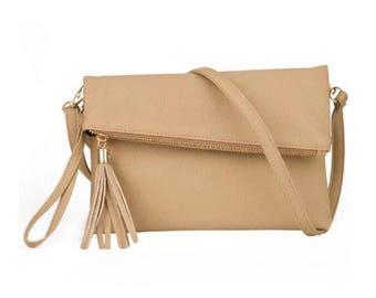 Leather Fold Over Tassle Bag