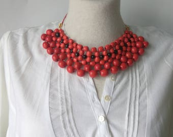 Red black necklace,Wooden bead,wooden necklace,natural eco product,gift for her,original necklace,Ethno beads,Ukrainian style,summer Jewelry