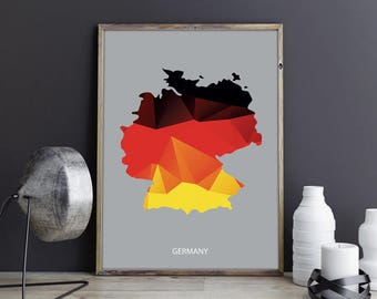 Germany Art Germany Wall Art Germany Wall Decor Germany Photo Germany Print Germany Poster Germany Map Country Map Watercolor Map Country