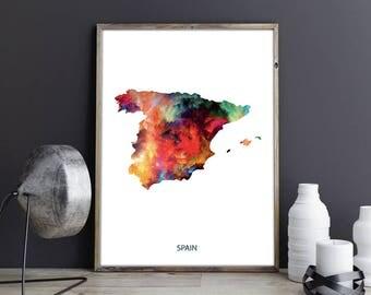 Spain Art Spain Wall Art Spain Wall Decor Spain Photo Spain Print Spain Poster Spain Map Country Map Watercolor Map Country Map Print
