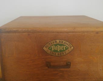 Vintage wooden storage box used to store paper