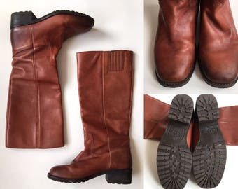 Lucky Brand Cognac Leather Riding Boots Size 8 Festival Americana Boho Bohemian Equestrian