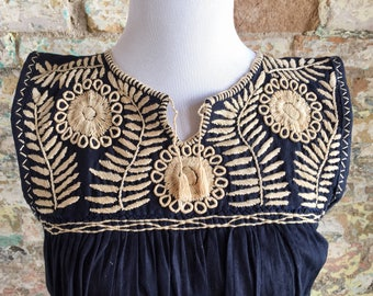 Mexican Embroidered Top / Mexican Peasant Blouse /Mexican Embroidered Blouse / Bohemian Embroidered Top / Navy Blue Mexican Top