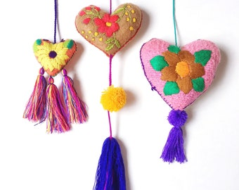 Mexican Wool Heart / Heart Pom Pom / Heart Decor / Mexican Embroidered Wool Heart / Embroidered Heart Ornament