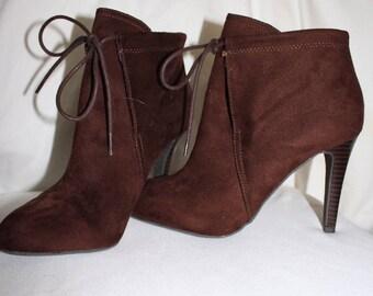 Brown suade booties