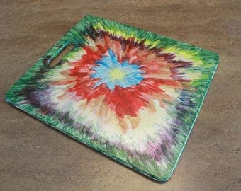 Reversible hand-painted wooden tray