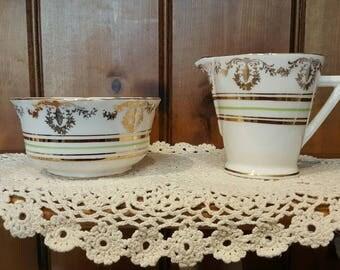 Art deco english china sugar bowl and creamer