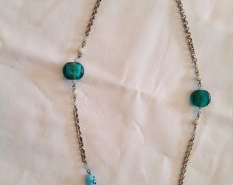 Necklace silver with turquoise stones and pearls