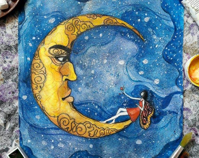 Moon in love ORIGINAL painting by Tatiana Boiko watercolor art, wall art, nursery art, kids, baby, wall hanging, blue night, butterfly, girl