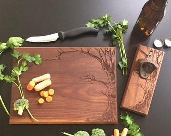Personalized Cutting Board AND Bottle Opener Set by Steven and Rae Designs Christmas Bridal Shower Gift Wedding Annivaersary (EEBB206)